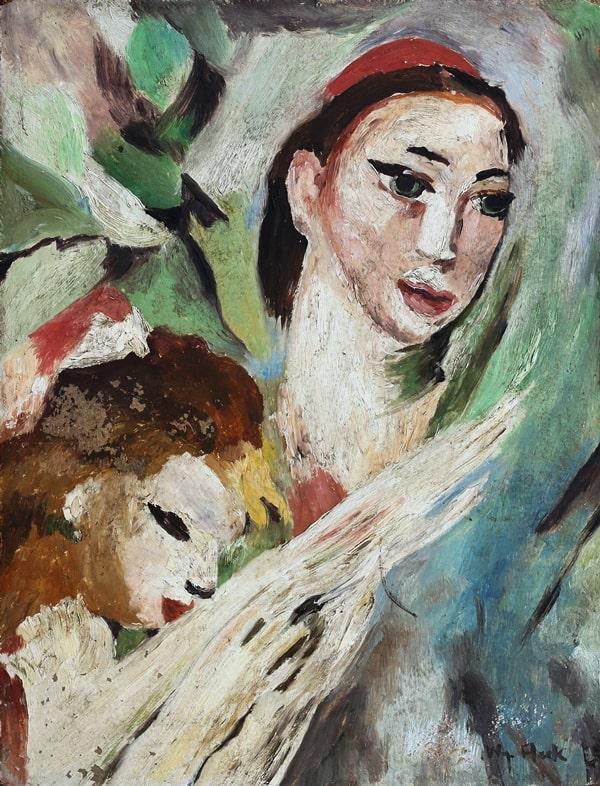 67 Matka z córką olej płyta 40 x 32 syg p.d.