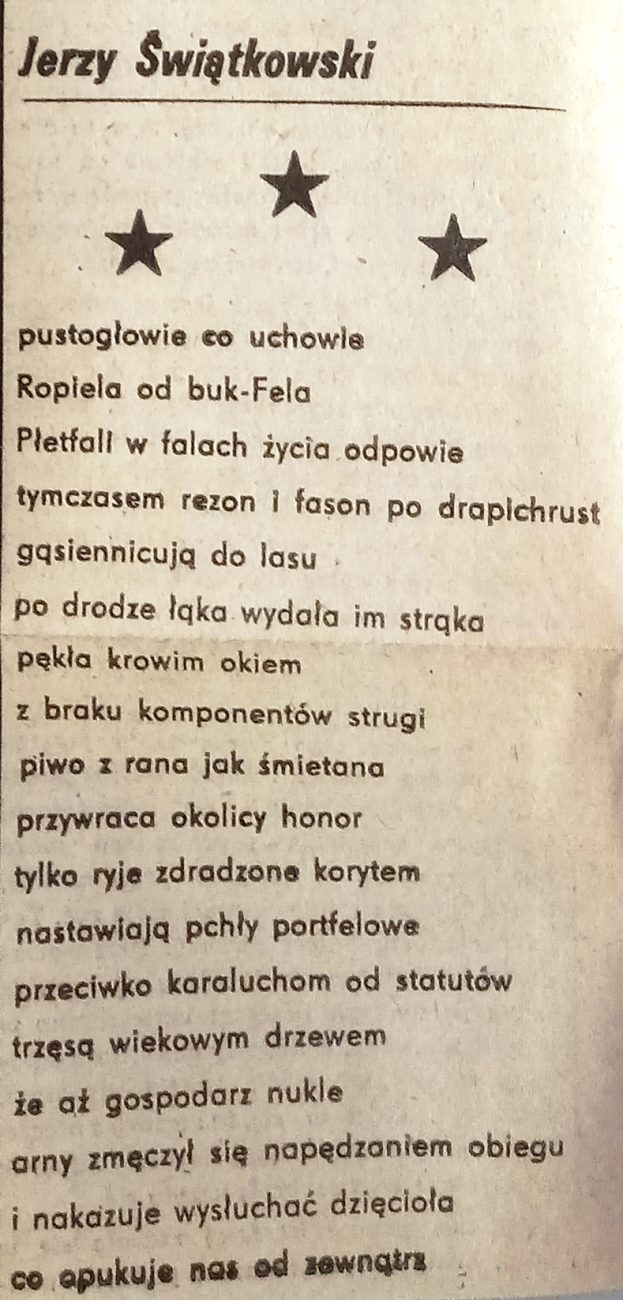 """Wiersz Świątkowskiego z dawnych lat, Zbigniew Jerzyna, O grafice Jerzego Świątkowskiego, """"Przegląd Tygodniowy"""", 04.07.1982"""